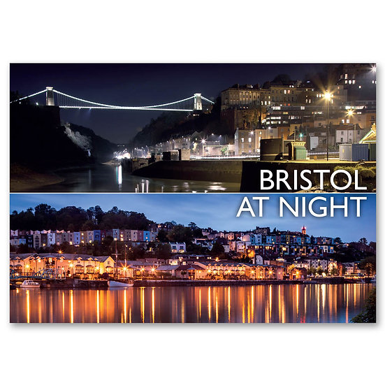 Bristol at night - 2 view Composite - Sold in pack (100 postcards)
