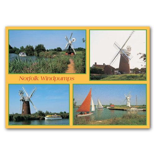 Norfolk Broads Windpumps - Sold in pack (100 postcards)