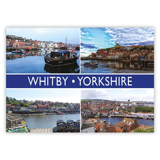 Whitby Yorkshire 4 View Comp - Sold in pack (100 postcards)