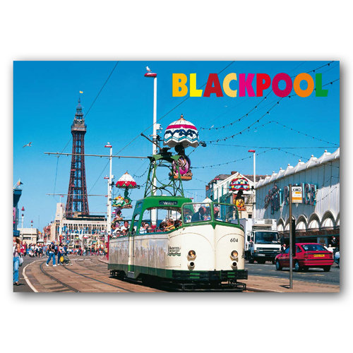 Blackpool Tower & Tram - Sold in pack (100 postcards)