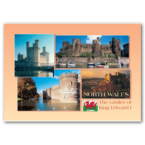 Wales North Castles of King Edward - Sold in pack (100 postcards)
