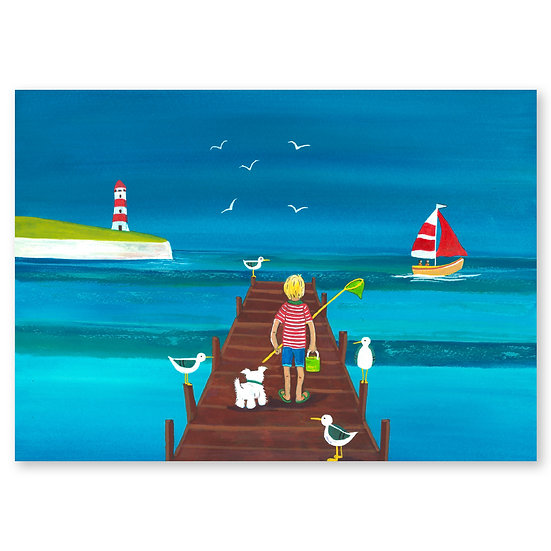 Lazy Days by A. Paget : Fun on the Jetty - Sold in pack (100 postcards)