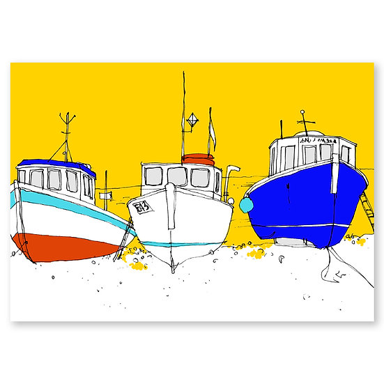 Life's a Beach by Lucy Sheeran : Seaside Boats - Sold in pack (100 postcards)