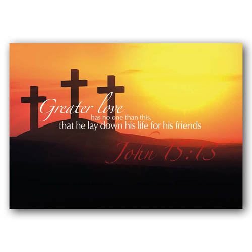 Bible Verse Greater Love - Sold in pack (100 postcards)