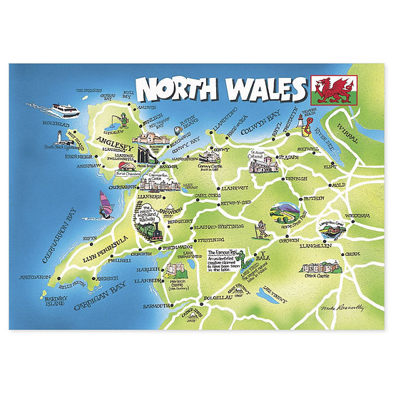 North Wales Map - Sold in pack (100 postcards)