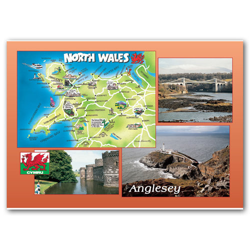 Anglesey 4 Comp - Sold in pack (100 postcards)