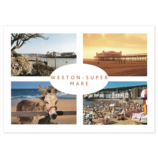 Western Super Mare 4 View Comp - Sold in pack (100 postcards)