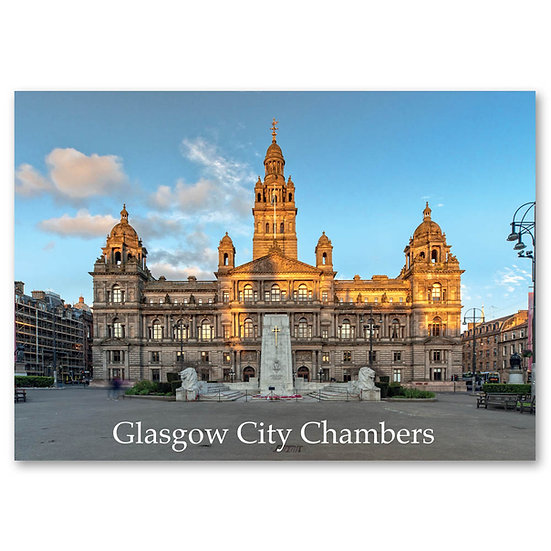 Glasgow City Chambers and George Square - Sold in pack (100 postcards)