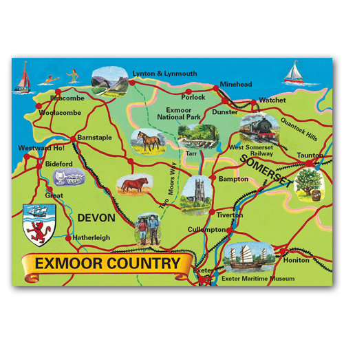 Exmoor Map - Sold in pack (100 postcards)
