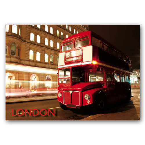 London Bus at Night - Sold in pack (100 postcards)