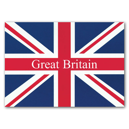 British Union Jack Text Flag - Sold in pack (100 postcards)