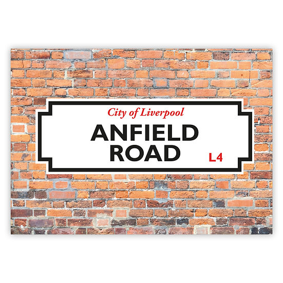 Liverpool Street Sign Anfield Road - Sold in pack (100 postcards)