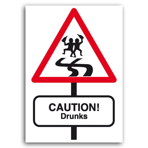 Road Signs - Drunks - Sold in pack (100 postcards)