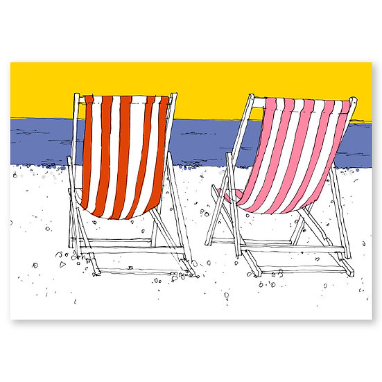Life's a Beach by Lucy Sheeran : Deckchairs - Sold in pack (100 postcards)