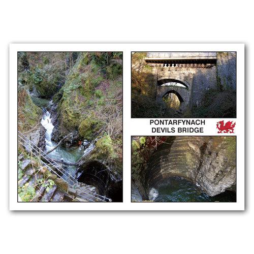 Devils Bridge 3 View Comp - Sold in pack (100 postcards)