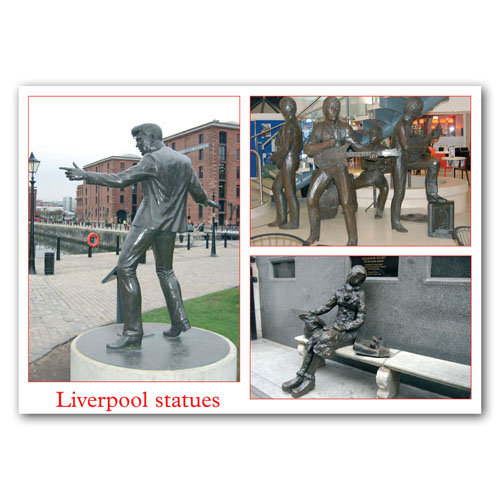 Liverpool Statues 3 View Comp - Sold in pack (100 postcards)