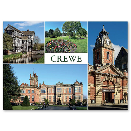 Crewe, 5 view Composite - Sold in pack (100 postcards)