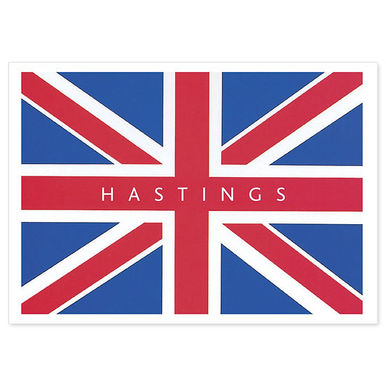 Hastings Union Jack - Sold in pack (100 postcards)