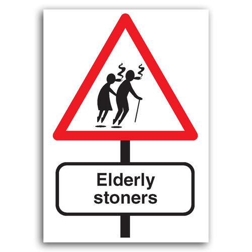 Road Signs - Elderly Stoners - Sold in pack (100 postcards)