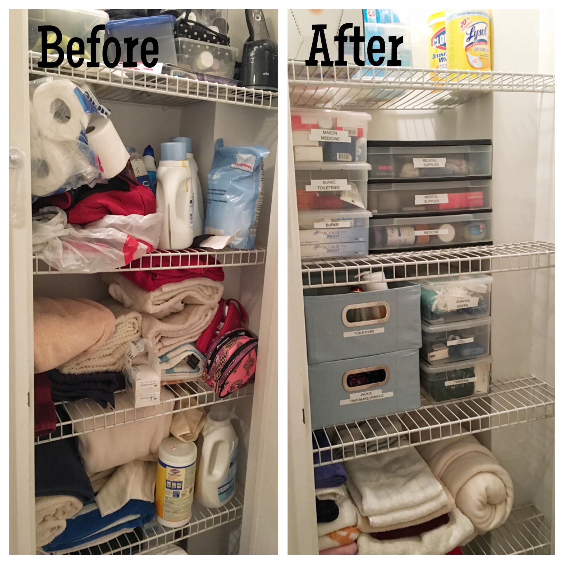 Before & after - linen closet