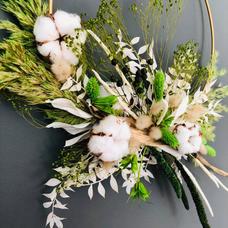 Couronne verte fleurs séchées