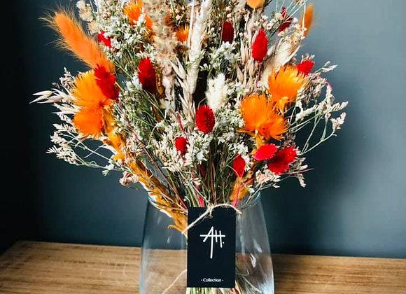 Bouquet séché vase orange sanguine