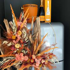 Couronne orange sanguine fleurs séchées