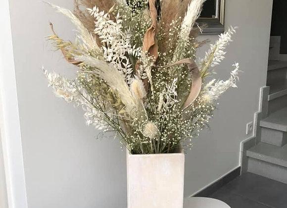 Bouquet séché blanc avec vase