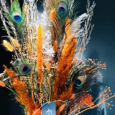 Bouquet fleurs séchées plumes de paon
