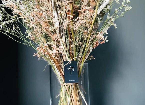 Bouquet séché vase dentelle