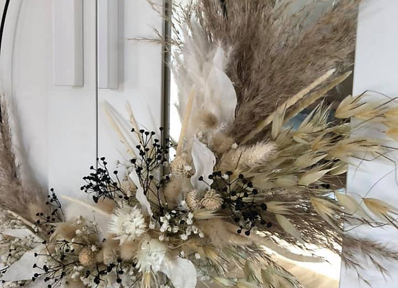 Couronne fleurs séchées perle noire d40