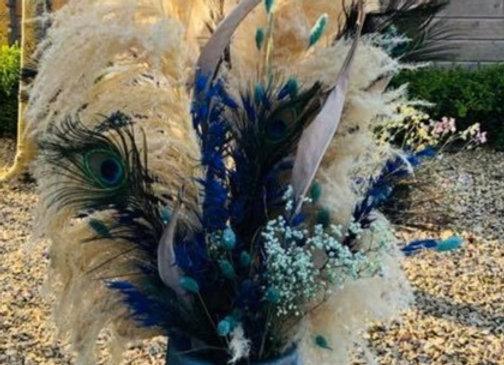 Bouquet fleurs séchées blue moon avec vase