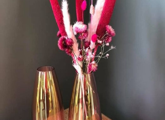Vase fumé rose allongé h30