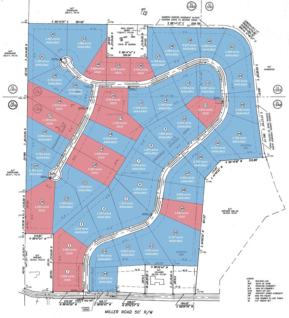 Cherokee Estates GA Polk County lot map