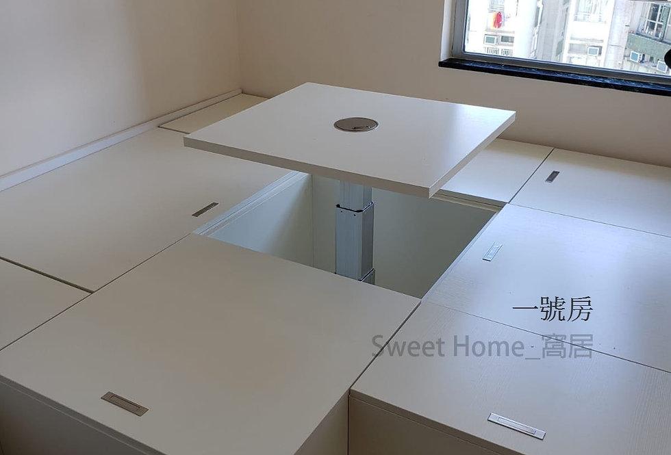 客人訂制 (黃埔花園)  房間地台床+趟門衣櫃 實物圖片#930