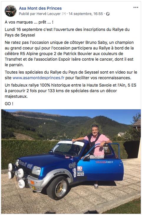 Bruno Saby au Rallye du Pays de Seyssel 2019