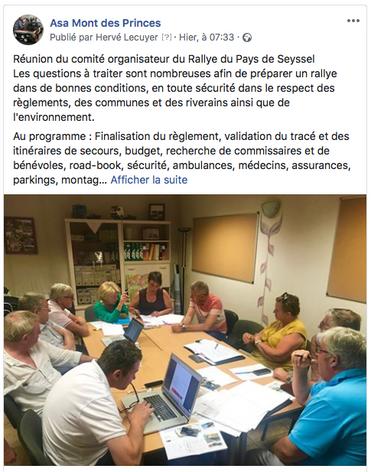 Réunion comité organisation Rallye Pays de Seyssel 11.07.19