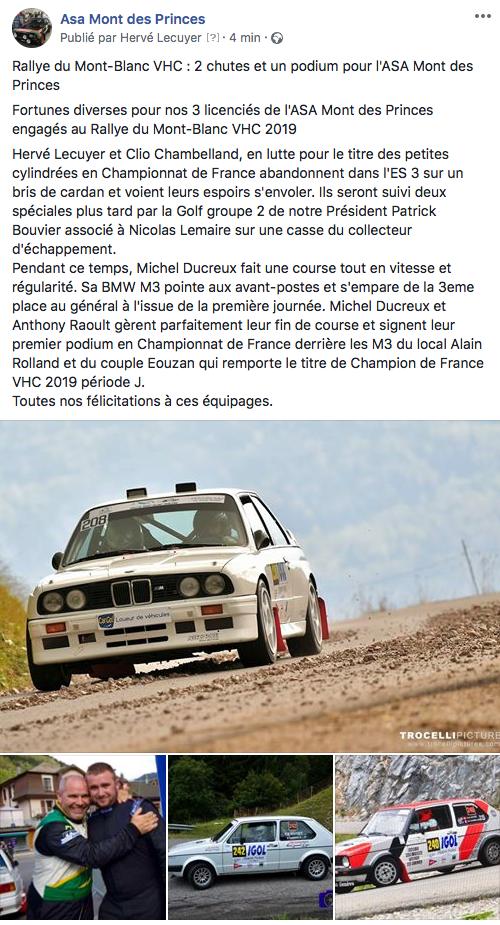 Les licenciés de l'ASA Mont des Princes au Rallye du Mont-Blanc 2019