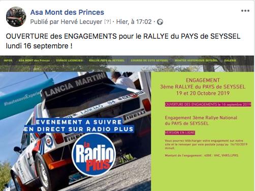 Ouverture des engagements du Rallye du Pays de Seyssel 2019