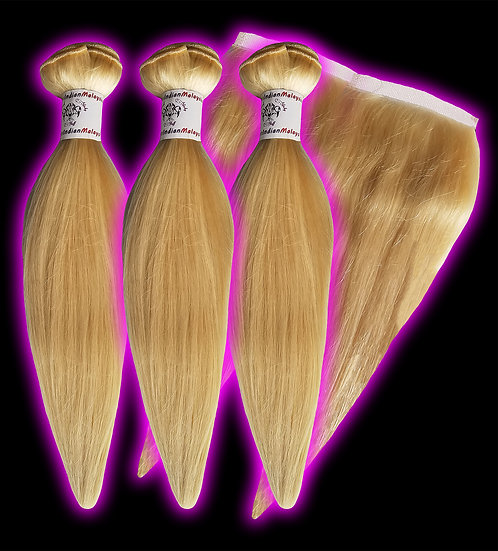 (Straight)  #613 BARBIE BLONDE BUNDLES (3) + FRONTAL