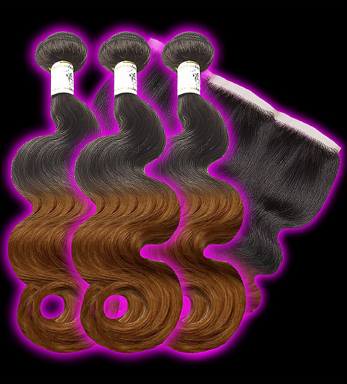 (Body Wave) OMBRE 3 BUNDLES + FRONTAL