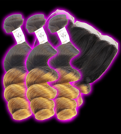(Loose Wave) OMBRE 3 BUNDLES + FRONTAL