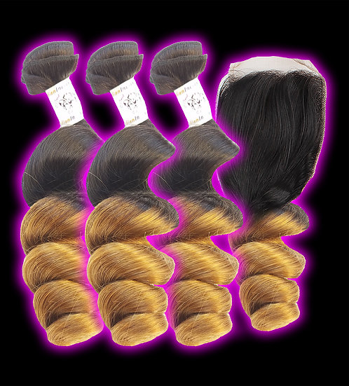 (Loose Wave) OMBRE 3 BUNDLES + CLOSURE (Sale)