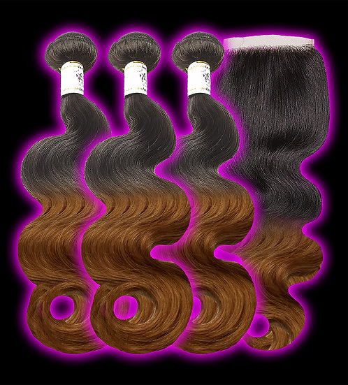 (Body Wave) OMBRE 3 BUNDLES + CLOSURE (Sale)