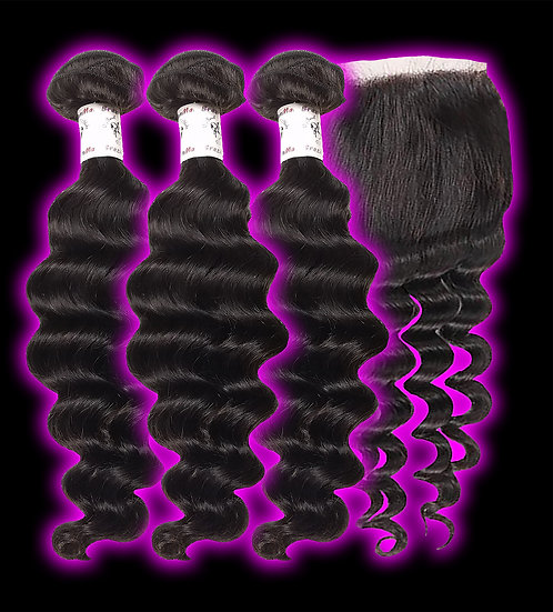 (Loose Deep Wave) 3 BUNDLES + CLOSURE
