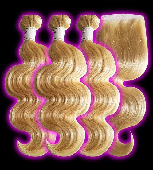 (Body Wave) #613 BARBIE BLONDE BUNDLES (3) + CLOSURE (Sale)