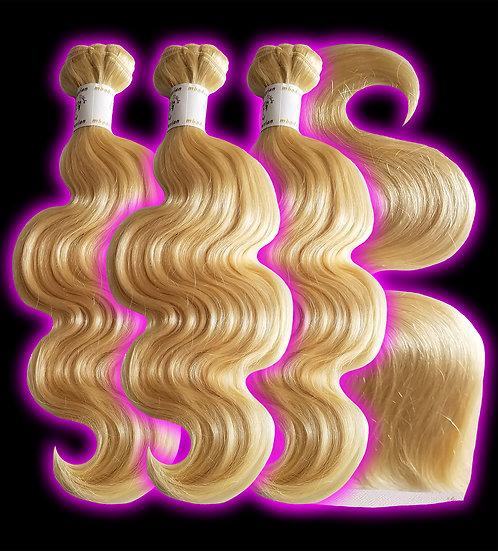 (Body Wave)  #613 BARBIE BLONDE BUNDLES (3) + FRONTAL (Sale)