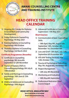 HEAD OFFICE calender Combined courses (A