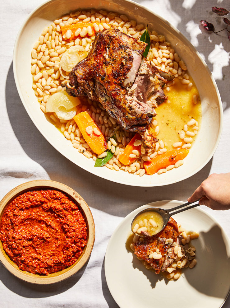 Slow-roasted lamb shoulder with white beans and harissa