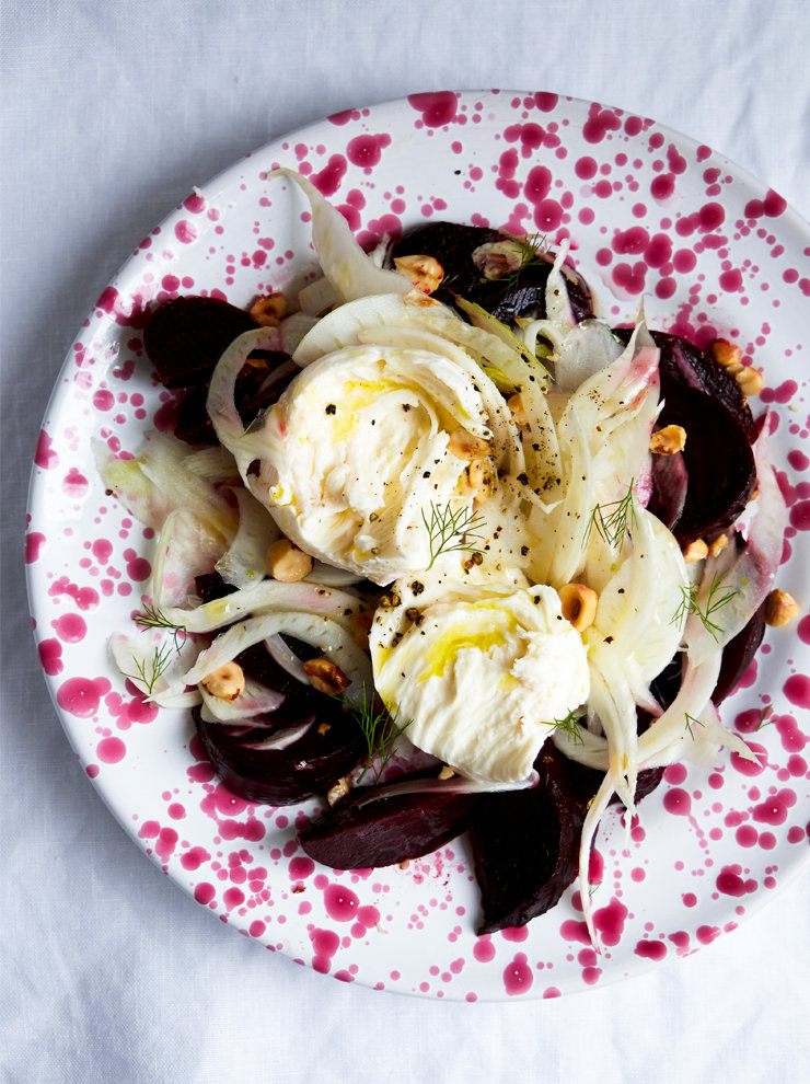 Roast beetroot, fior di latte and fennel salad